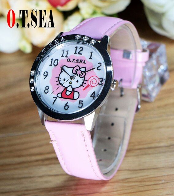 Hot Sales O.T.SEA Brand Cute Hello Kitty Watch Children Girls Women Fashion Crystal Dress Quartz Wristwatch For Gifts