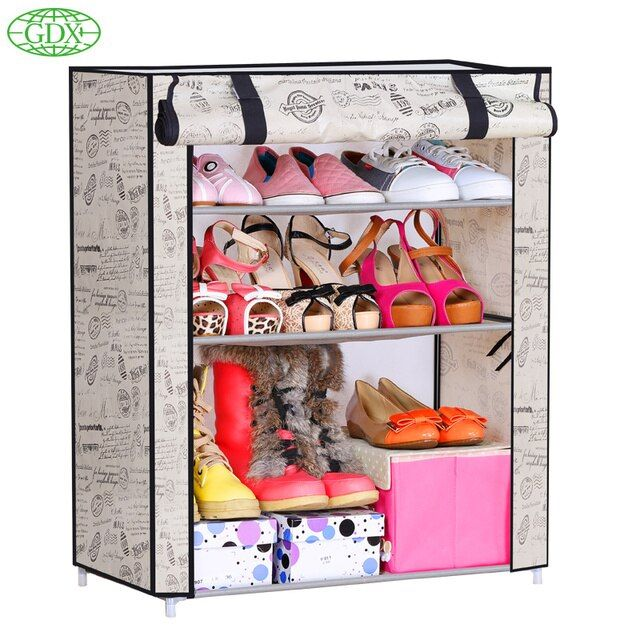 GDX 1pc 3 Tiers 9 Pairs Simple DIY Non-Woven Fabric Shoes Cabinet Foldable Dustproof Wetproof Shoe lockers Racks Free Shipping