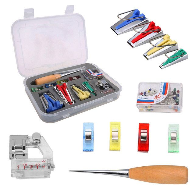 60pcs Multifunction Bias Tape Maker 4 Sizes Binding Tape Makers Kit Set For Sewing Accessories