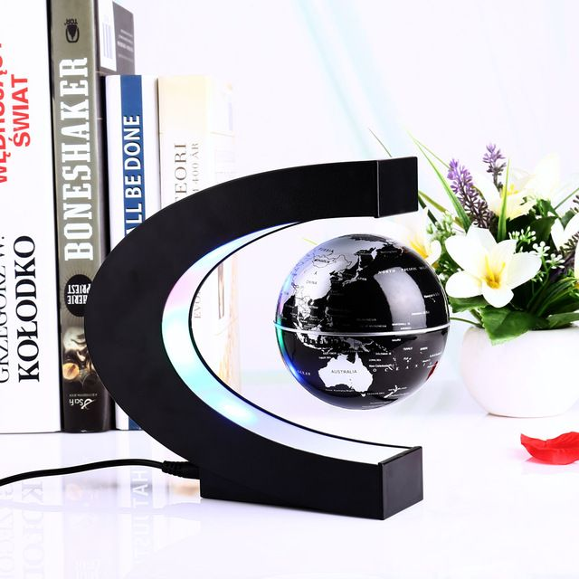Novelty LED World Map C Shape Floating Globe Magnetic Levitation Night Light Birthday Home Dec Night lamp Antigravity Magic Lamp