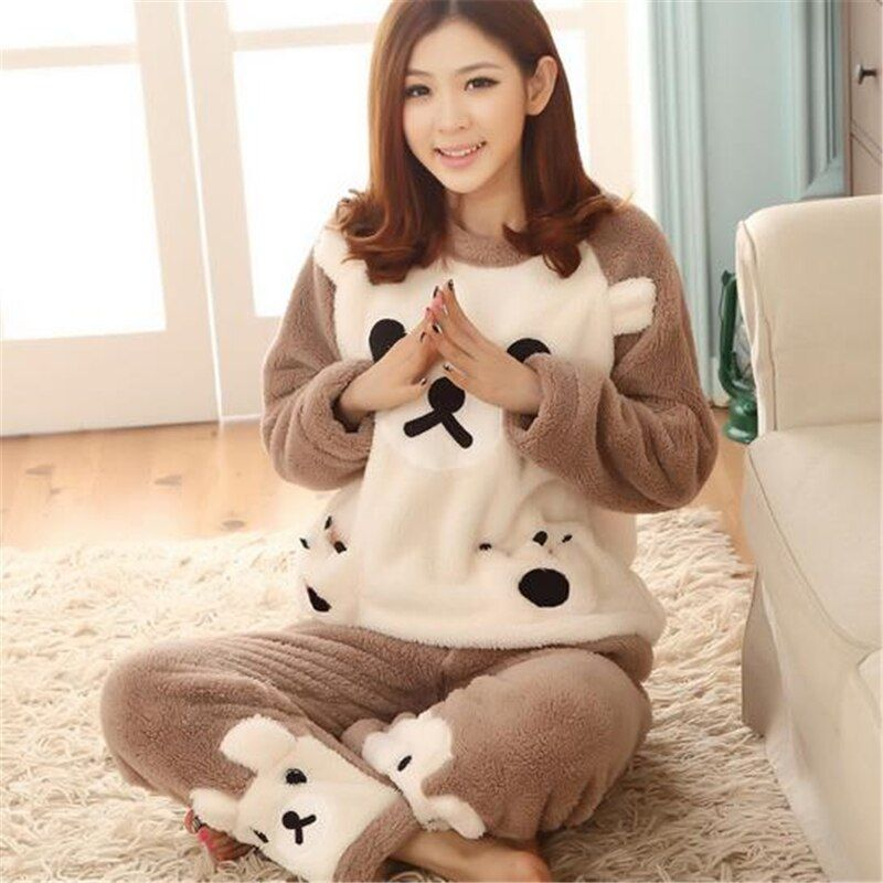 Autumn Winter Women Pajamas Sets Flannel Long Sleeve Pyjamas Thick Warm Coral Velvet Suit Pyjamas Cartoon Animal Pants Sleepwear