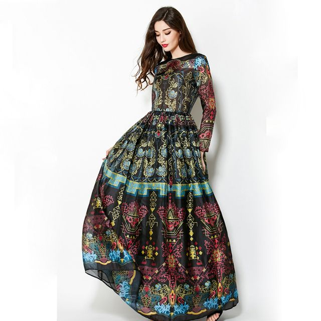 Vintage 2016 Spring Long Sleeves Elegant Empire Ball Gown Temperamental Slim Retro Print Floor-Length Dress Women Maxi