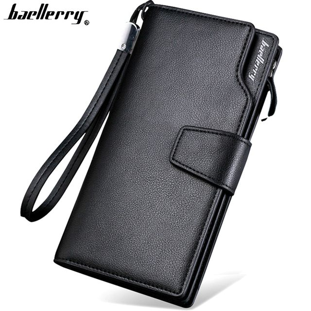 Top Quality  leather long wallet men pruse male clutch zipper around wallets men women money bag pocket mltifunction