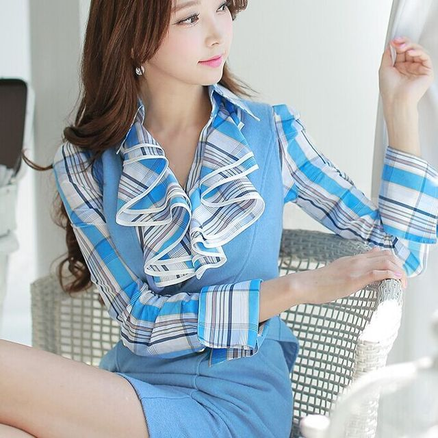 Original New 2016 Brand Shirts Woman Autumn and Winter Light Blue Plus Size Casual Vintage Plaid Blouse Blusas Women Wholesale