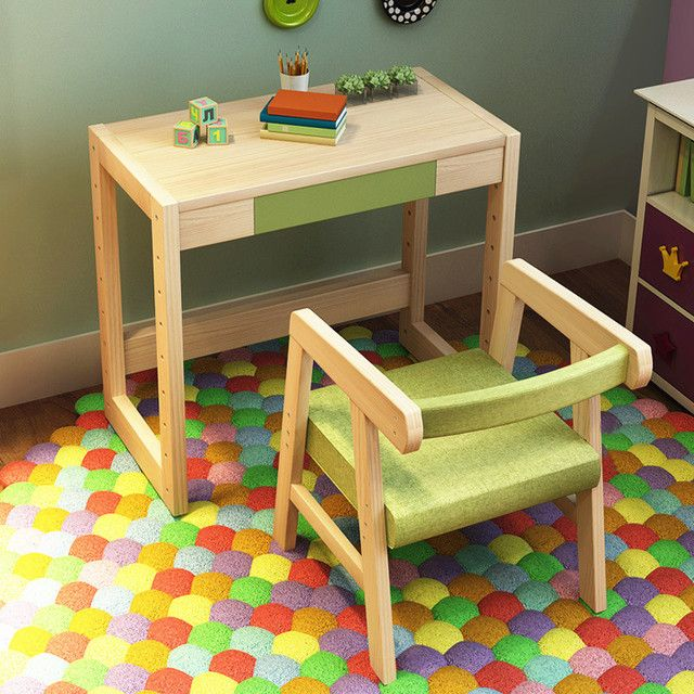 Growth type can lift and adjust the log children tables and chairs High-quality solid wood children's study Desk and chair set