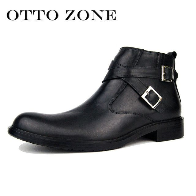 OTTO ZONE Men's Chelsea Martin Boots Handmade Genuine Leather Ankle Boots Oxford Casual Vintage Designer Muslim Shoes EU 40-46