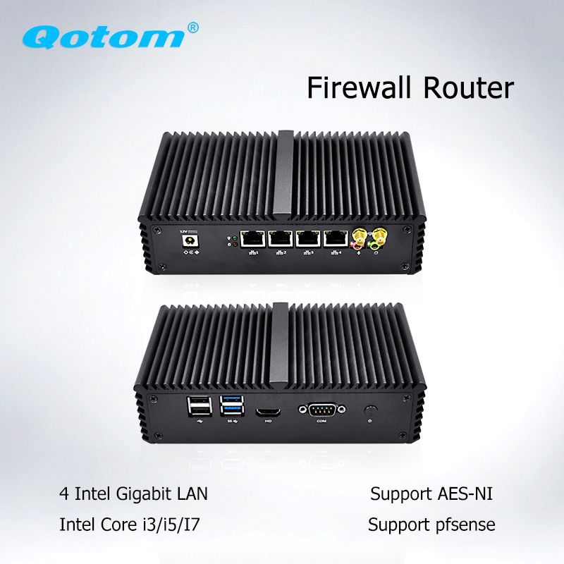 Dual Core Mini PC 4 Lan Nano Itx Core  i3 i5 i7 Pfsense Firewall Micro Computer Router Server Linux Ubuntu Fanless Mini PC