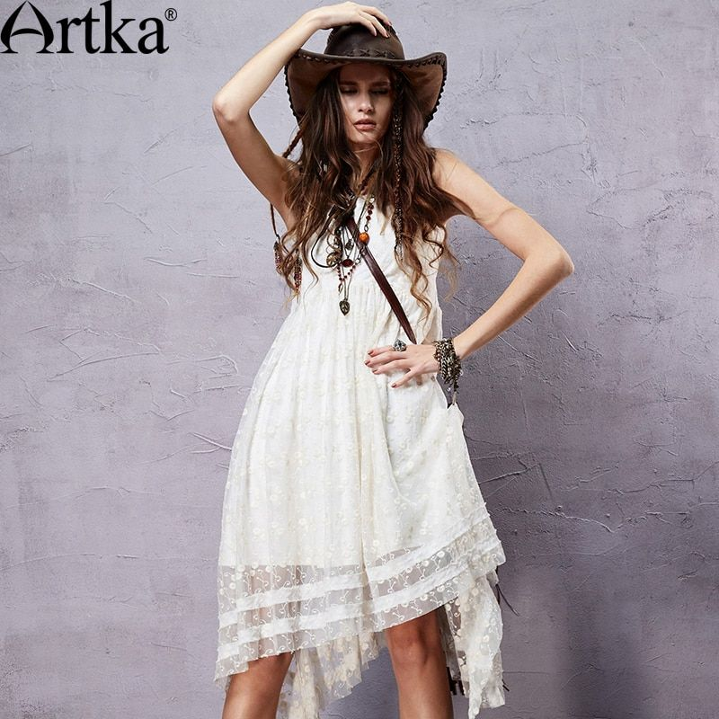 Artka Women's Summer Bohemian Style Solid Color Sleeveless Dress O-neck Lace Embroidery Irregular Hem Dress LA14551X
