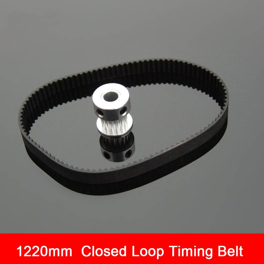 Black Rubber 2GT-6 1220mm Perimeter Timing Belt 6mm Width Closed Loop Synchronous Belt Transmission Accessories