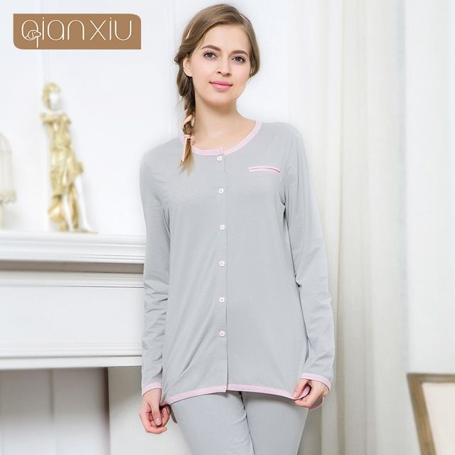 Qianxiu pijamas popular for women  Autumn popular pure color ladies comfortable pajamas