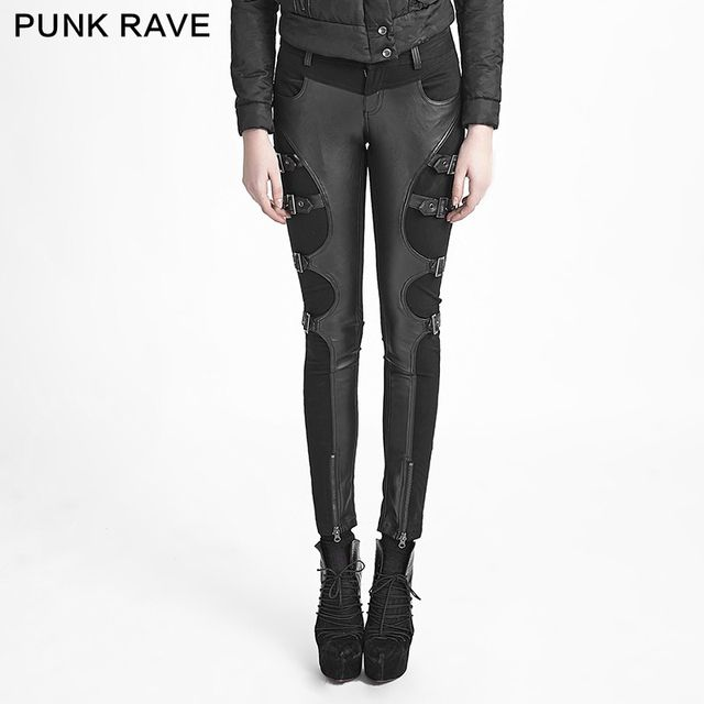 Free shipping!Punk Goth Victorian Novelty Rock Cosplay Party Metal Tight Pants Trousers S-XXL