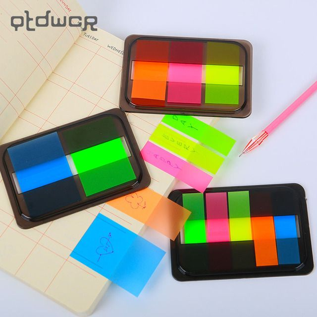 Novelty Fluorescent Candy Color Self Adhesive Memo Pad Sticky Notes Sticker Label Escolar Papelaria School Office Supply