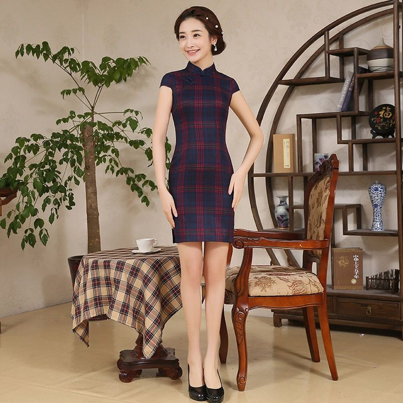 Crane Female Cheongsam Retro Chinese Traditional Dress Short Sleeve Summer Qipao Cotton Chinese Style Dress Women's Cheongsam 18