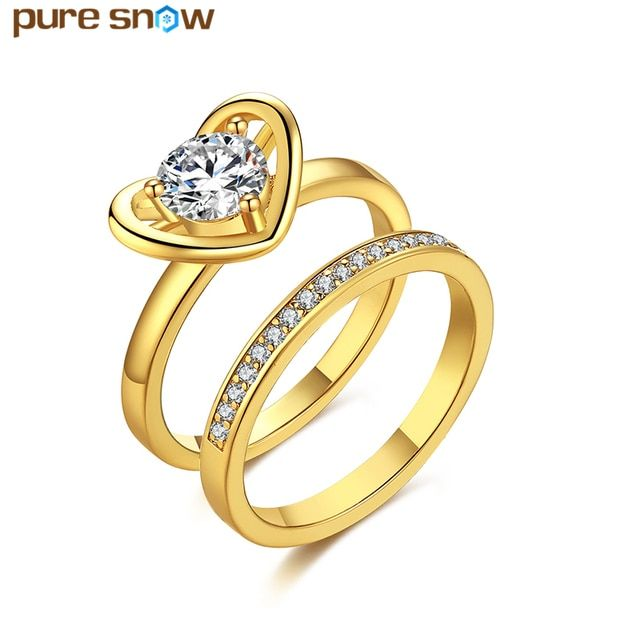 Top Quality Gold Color Heart Engagement Rings Cubic Zirconia Rings Sets Crystal Jewelry Wedding Party Anniversary Gift