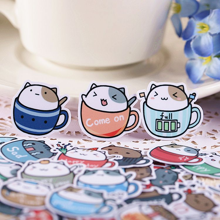 40pcs Self-made Coffee Cup Cat Scrapbooking Stickers DIY Craft DIY Sticker Pakc Photo Albums Deco Diary Deco