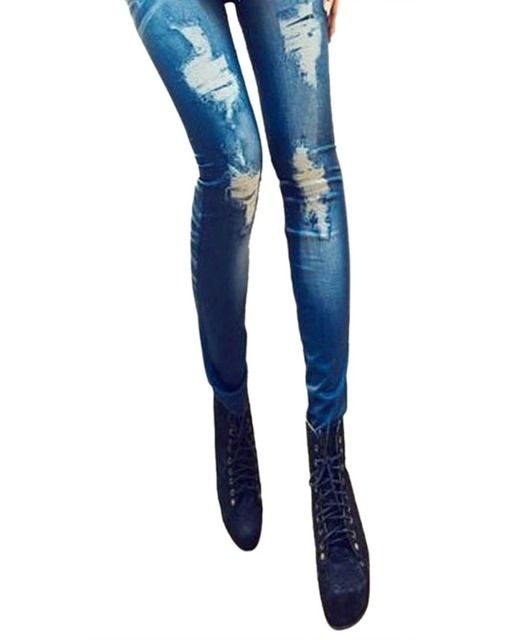 Vintage Women Slim Distressed Jegging Stretchy Skinny Jeans Leggings