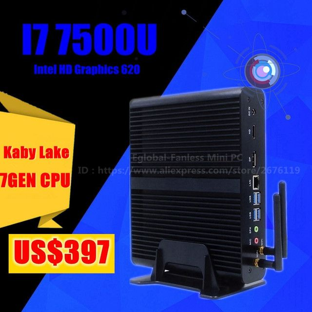 [Core i7 7500U ] Eglobal 7th Gen Mini pc Windows 10 Kaby Lake Fanless Computer TV Box 4K HD Display HTPC 300M Wifi Free shipping