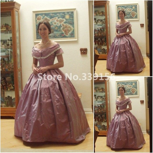 19 Century Vintage Costumes 1860S Victorian Civil War Southern Belle Gown Dress Scarlett dresses