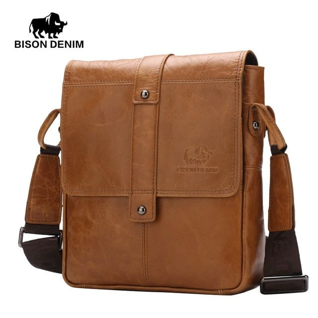 BISON DENIM Men's Genuine Leather Crossbody bag Vintage Ipad casual Shoulder Bag Business Flip buckle travel bag W2447