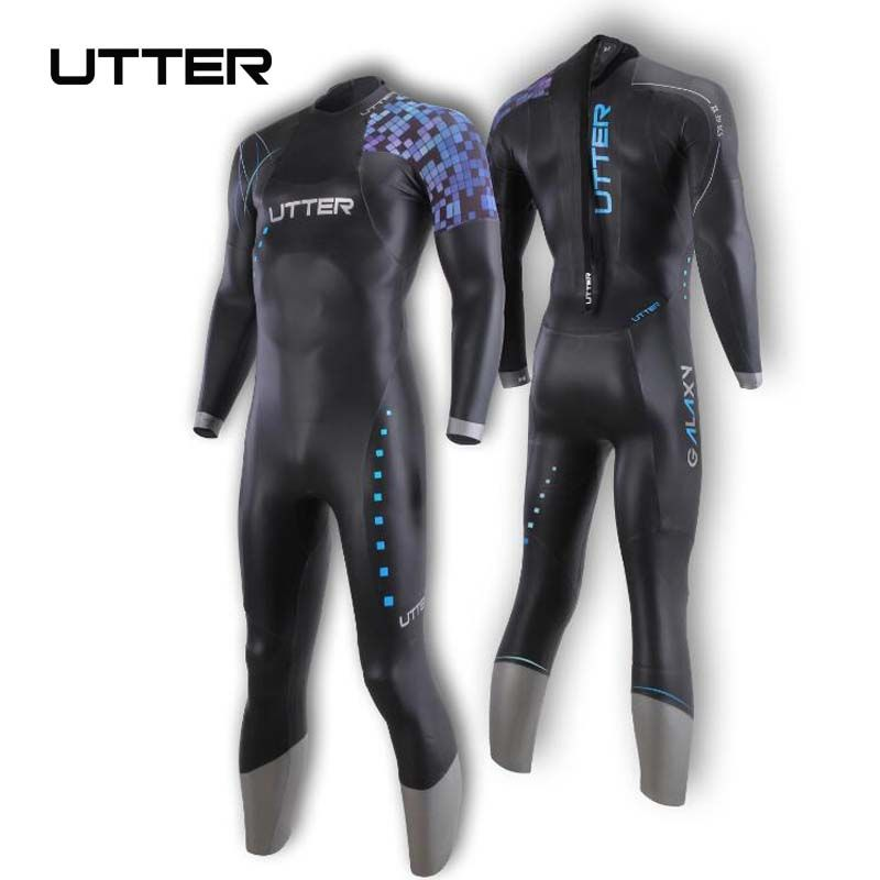 UTTER Galaxy Men's Triathlon Neoprene Wetsuit Surf Suit for Surfing Running and Cycling Outdoor Swimwear