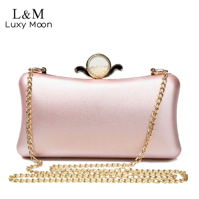 Luxury Gold Silver Evening Purse Women Pink PU Leather Pearl Hand Bag Chain Shoulder Day Clutch Bags Handbag bolso Black XA841H