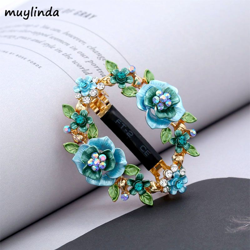 muylinda Flower Enamel Hair Pin Clip Rhinestone Hair Jewelry For Women Fashion Crystal Hair Accessories