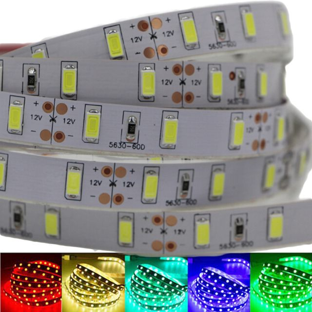 1/2/3/4/5M High Quality LED Strip Light 5630SMD Super Bright DC12V Stripe String LED Tape Non-waterproof Indoor Home Decoration