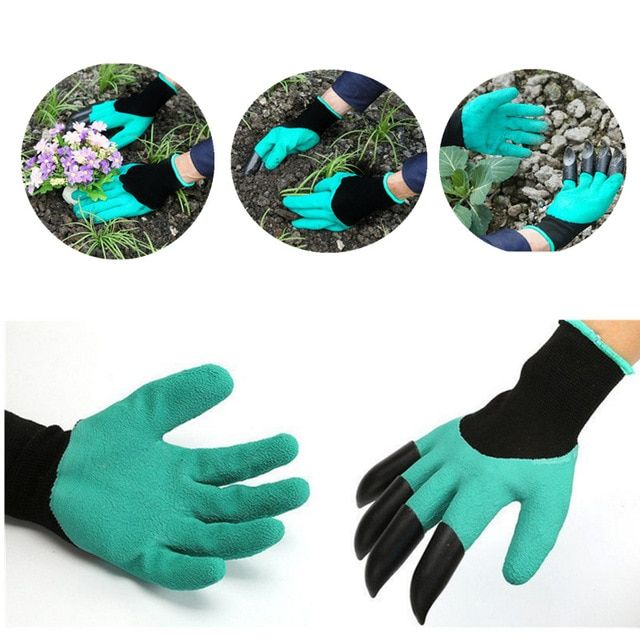 Hot Sale Latex Garden Gloves For Garden Digging Planting with 4 ABS Plastic Claws Rubber Polyester Gardening Gloves