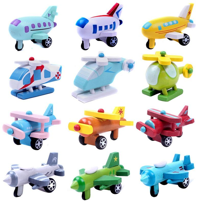 Mini Wooden Airplane Model Toys Kids Multi Pattern Diecasts Vehicles Cars Children Cute Wooden Airplane Toy Baby Birthday Gifts