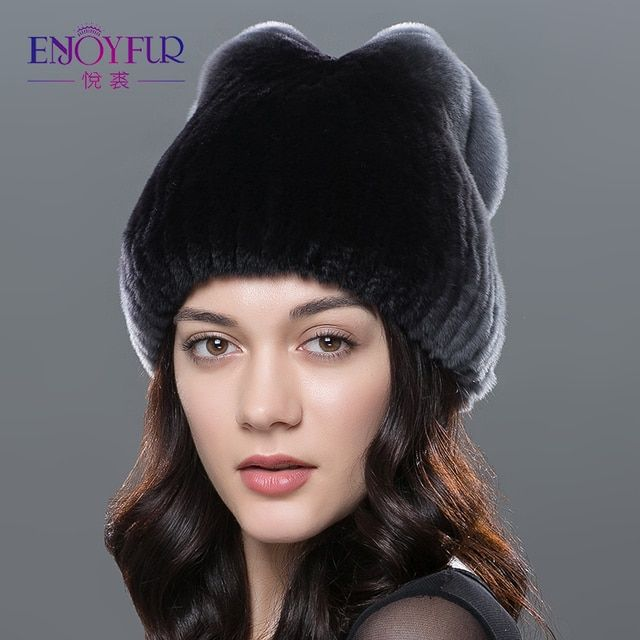 Women winter fur hat natural rex rabbit fur hat bow design fashion beanies caps brand new russian winter fur hats
