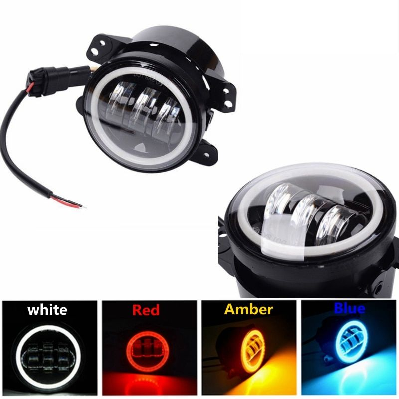 For Jeep Wrangler 97-16 JK TJ LJ ATV 4 Inch 30W LED Fog Lights with Halo Ring Angel Eyes