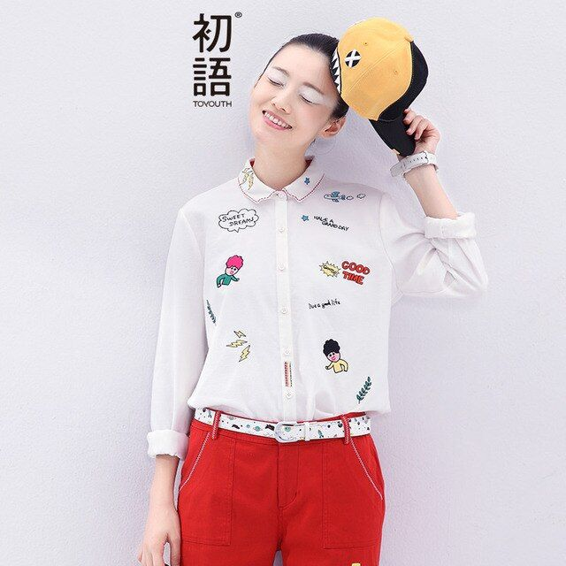 Toyouth Long Sleeve Shirt 2017 Women Autumn Long Sleeve Turn Down Collar Cartoon Embroidery Work To Wear Blouses