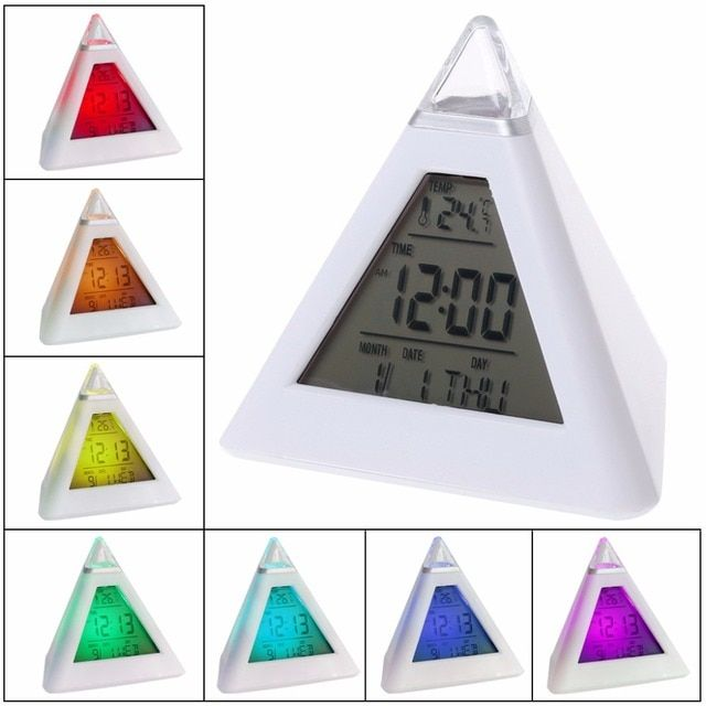 7 LED Change Colors Pyramid LCD Digital Snooze Alarm Clock Time Data Week Temperature Thermometer C/f Hour Home