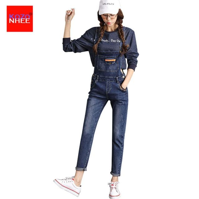 Casual Slim Straps Denim Rompers Womens Jumpsuit Pants Female Regular Denim Overalls For Women Jumpsuits And Rompers Women