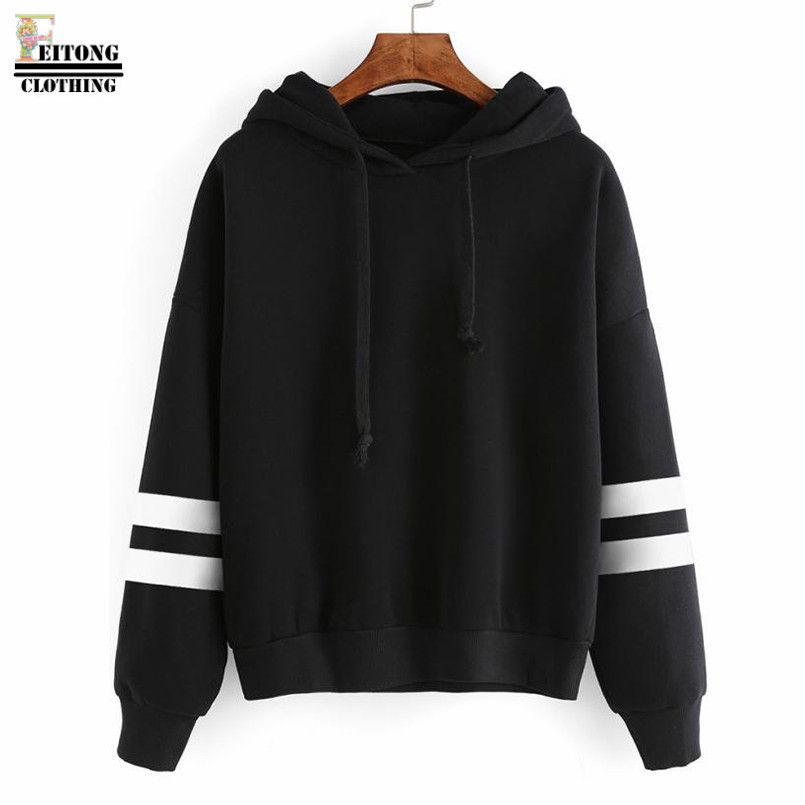 FEITONG Women Solid 5 Colors Draw String Stripe Long Sleeve Hooded Sweatshirt Cotton Contrast Brief Hoodies Sweat Femme#22
