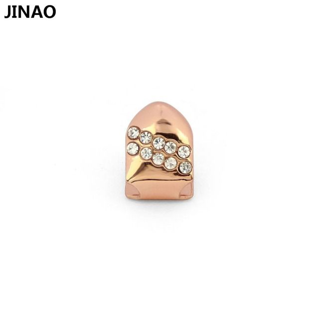 JINAO New Rose Plated Hip Hop Single Teeth Grills Cap With 2 Layers CZ Top&Bottom Tooth GRILLZ for Halloween Christmas Party
