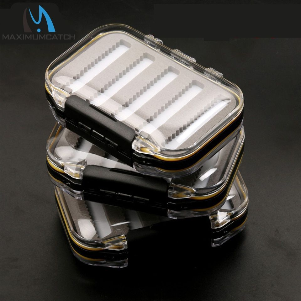 Maximumcatch 3 Pcs Fly Fishing Box Double Side Opened Design Transparent  Slit Foam Waterproof Fly Box