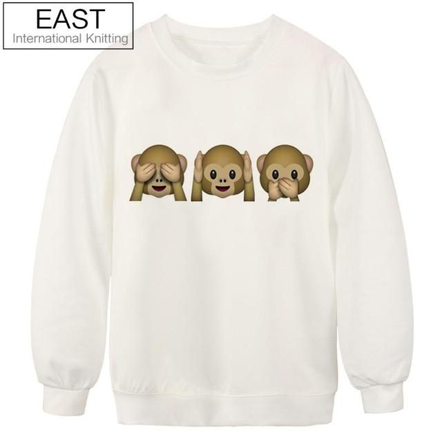 EAST KNITTING S-XL Winter Autumn Super Quality Cotton Blend Warm Ladies Clothing Fashion Monkey Emoji Print Sweatshirt For Women