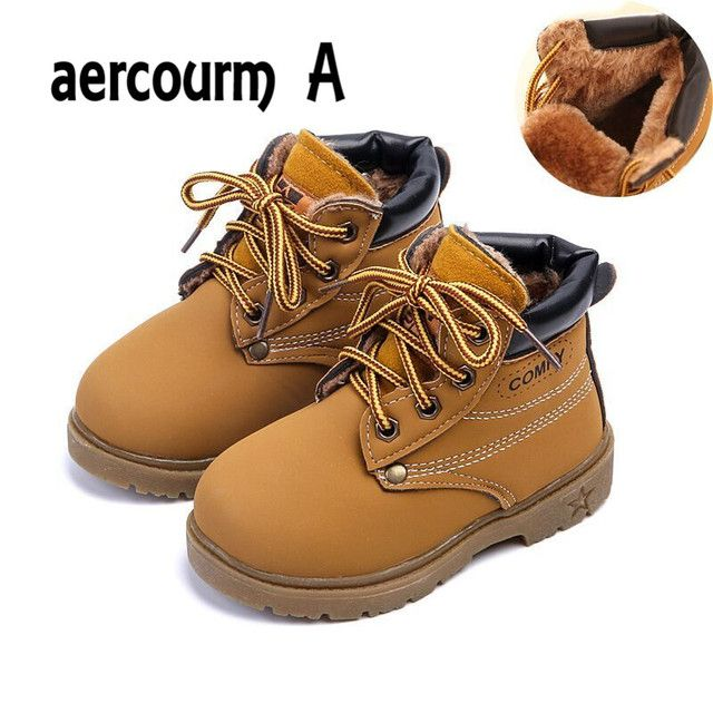 Aercourm A 2018 Winter Kids Boots Boys Plush Children Snow Motorcycle Boots Lace Zip Boots Girls Waterproof Children Shoes 21-30