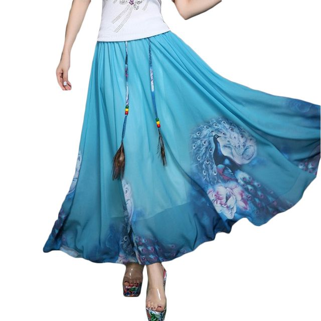 2017 New Spring and Summer National Floral Print Ankle-length Big Swing Casual Chiffon Long Pleated Maxi Women Skirt ZL3158