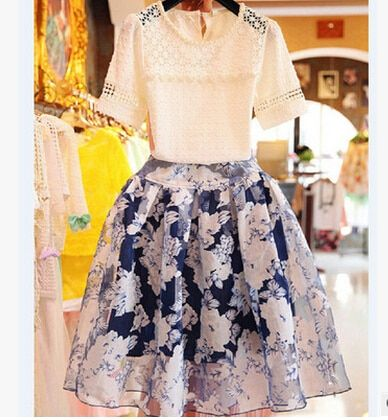 Summer style in Europe and America fashion lace hooks pierced two piece set skirt for women/girl Clothing Set