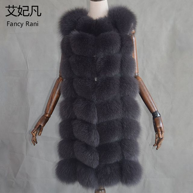 New 2017 Warm Fox Fur Vest Fashion Winter Women Real Fur Vests Woman Silver Fox Fur Coat Jacket Female Lady Fur Coats Size M-2XL