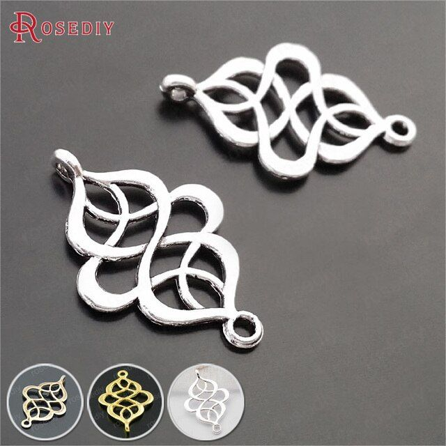 (29616)50PCS 27x18MM Antique Silver Zinc Alloy 2 Holes Chinese Knot Connect Charms Diy Jewelry Findings Accessories Wholesale