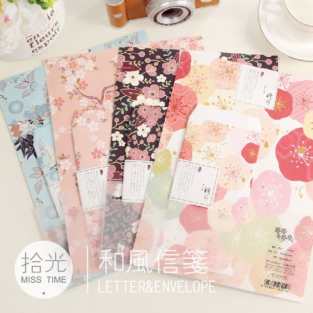 ShiGuang romantic stationery Colorful designs Wind Story writing letter paper Set 6 sheets paper +3 pcs envelopes 10 sets