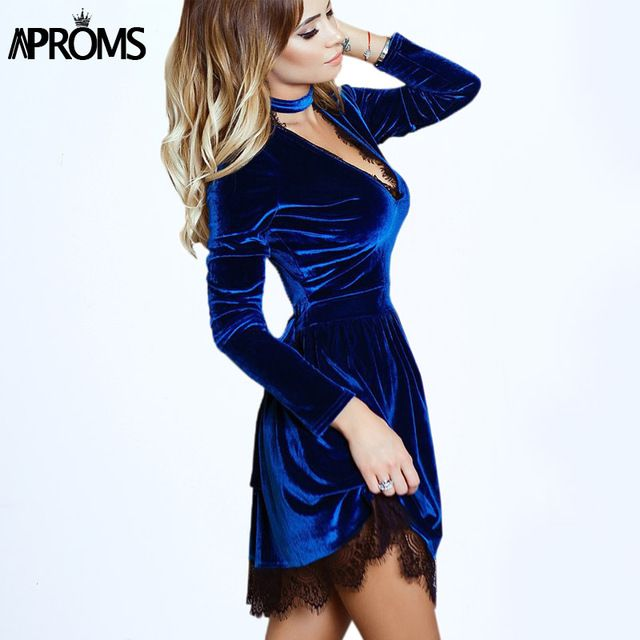 Aproms 2017 Women Lace Patchwork Velvet Dress Winter Sexy Deep V Neck Long Sleeve Short Mini Dresses Casual Velour Dress Vestido