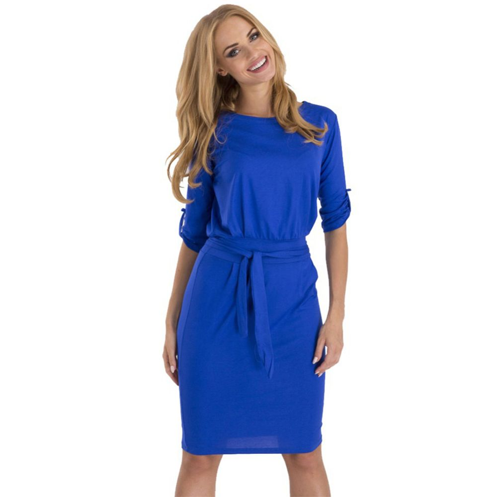 2017 Casual Summer Dress Elegant Office Women Pencil Work Business Party Dresses With Belt Half Sleeve Vestidos XXL