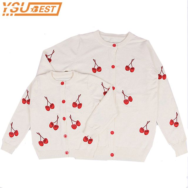 Family Matching Clothes Cherry Printed Cotton Cardigan Sweater White Spring Autumn Fashion Mother And Daughter Clothes