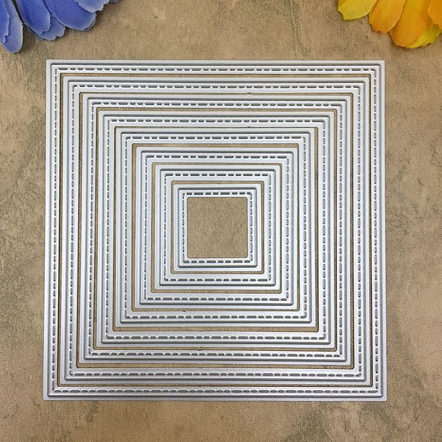 8 Pieces Square set Metal Cutting dies Scrapbook DIY album Card Paper Card Maker Metal Die cut Stencil Embossing Folder 120mm