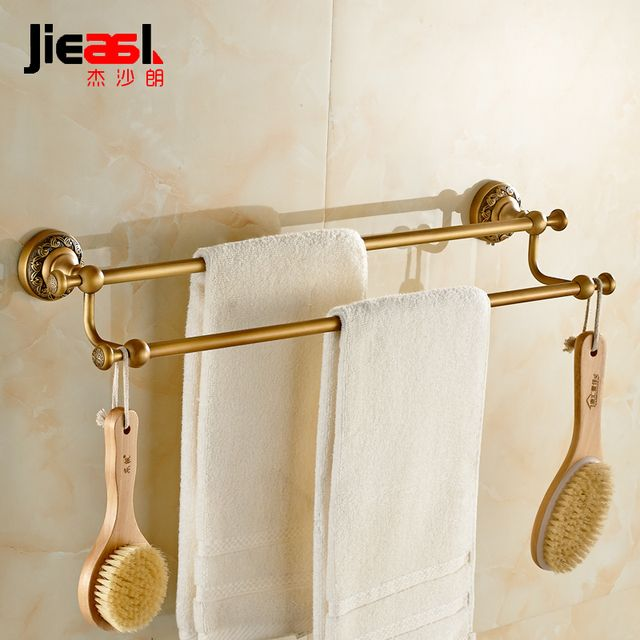 Jieshalang Antique Brass Towel Rack Bar Double Rod European Creative Carved Bathroom Hardware Accessories Set