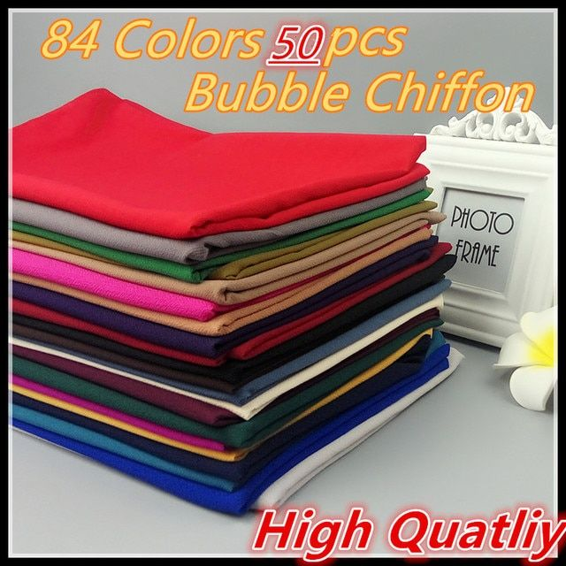 E3 50PCS  High Quality Plain Bubble Chiffon Shawls Headbands Popular Hijab Summer Muslim Scarfs